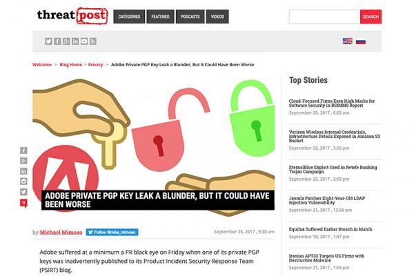【驚き】Adobeセキュリティブログ、秘密鍵掲載するミス